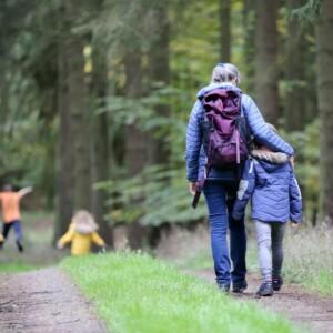 Family Walking in Woods